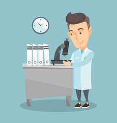laboratory assistant with microscope vector image