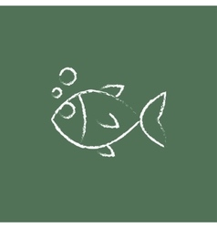 Little fish under water icon drawn in chalk vector