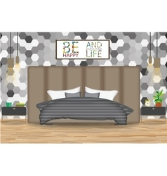 Loft Style Interior Design Bed vector image vector image