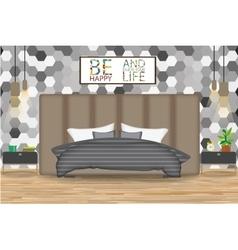 Loft style interior design bed vector