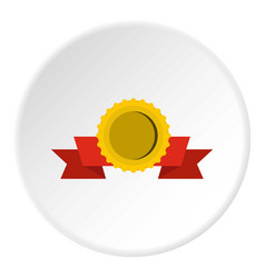 Medal with ribbon icon circle vector
