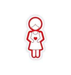 Paper sticker on white background expectant vector