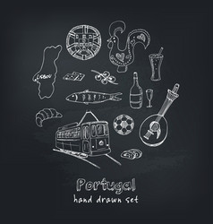portugal isolated elements and symbols hand drawn vector image