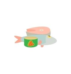 Raw fish and caviar icon cartoon style vector