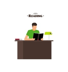 Reading books flat style concept vector image vector image