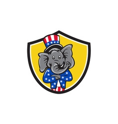 Republican elephant mascot arms crossed shield vector