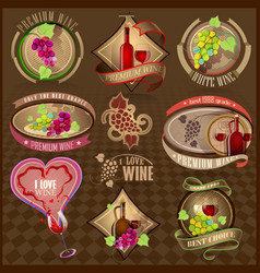 Set of retro labels for wine vector