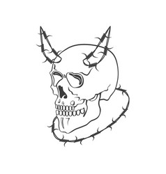 skull with barbed wire modern vector image