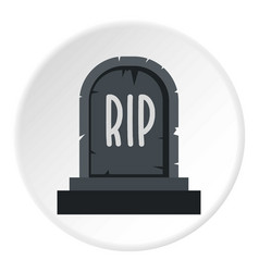 Stone tombstone rip icon circle vector