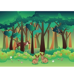 Summer Forest and Animals2 vector image