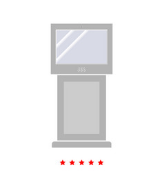 Terminal stand with touch screen icon vector