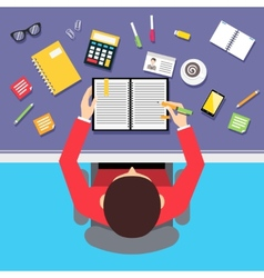 Top view businessman workplace vector image vector image