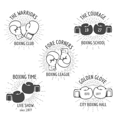 Vintage boxing logo set vector