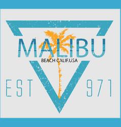 Vintage malibu beach sport typography t-shirt vector