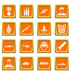 war icons set orange vector image