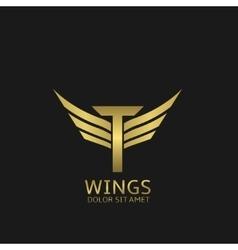 Wings t letter logo vector