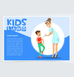 Woman pediatrician making injection to scared boy vector