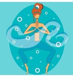 Yoga in mediation vector