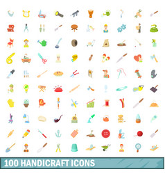 100 handicraft icons set cartoon style vector image