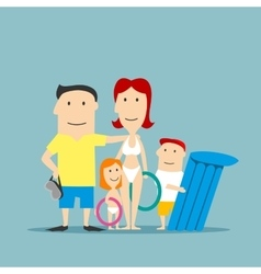 Happy family in swimwear on summer vacation vector