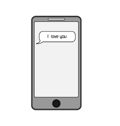 Isolated smart phone with text message i love you vector image