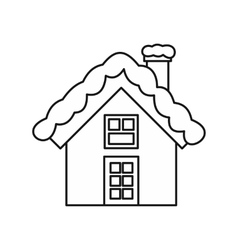 Snowy cottage icon outline style vector