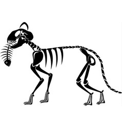Cat skeleton caught a fish skeleton vector