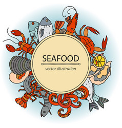 Seafood card with symbols of various vector