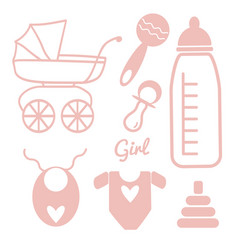 baby and newborn set for a girl vector image