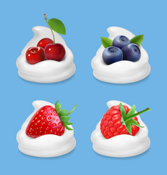 Berries and yogurt realistic vector