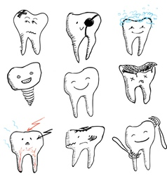 Hand drawn funny teeth icons collection vector