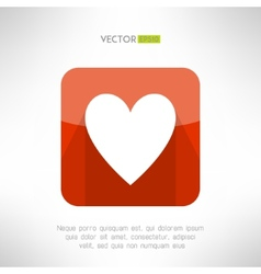 Red white heart icon in modern flat design social vector