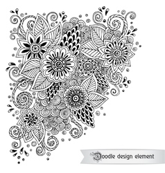 Floral retro doodle black and white pattern in vector
