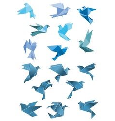 Origami paper stylized blue flying birds vector