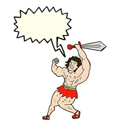 Cartoon barbarian hero with speech bubble vector