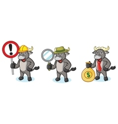 Buffalo gray mascot with sign vector