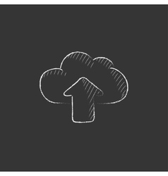 Cloud with arrow up Drawn in chalk icon vector image