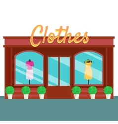 Clothes shop and store building front flat style vector