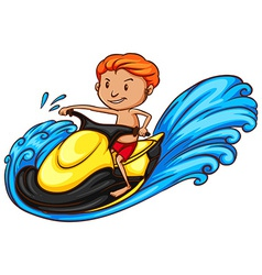 A simple coloured sketch of a man doing watersport vector