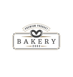 bakery shop logo template object for vector image vector image