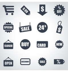 black shopping icon set vector image