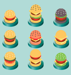 burgers color isometric icons vector image