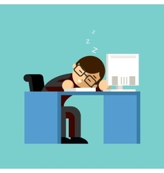 Businessman sleeping on his office desk top vector image