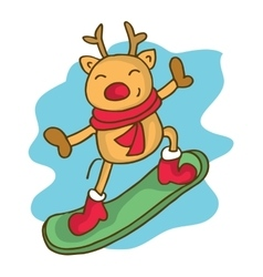 Cartoon reindeer on snowboard christmas vector