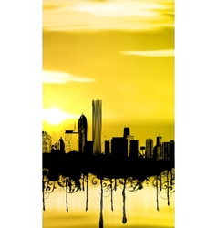 City with sunset and grunge vector image vector image