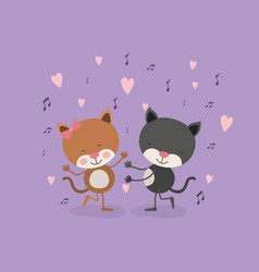Color background with couple of cats dancing in vector