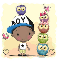 cute cartoon boy and five owls vector image