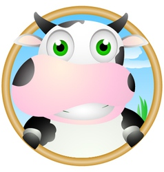 cute cow face vector image vector image