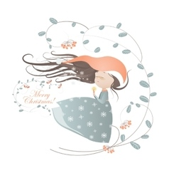 Cute lady christmas in wreath vector image vector image