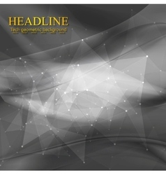 Dark wavy tech low poly background vector image vector image